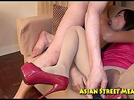 Tourist brings street Thai hooker in his hotel room, where tears pantyhose and owns her asshole 5