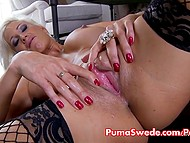 Swedish pornstar Puma Swede spends free time caressing juicy pussy with favorite adult toy