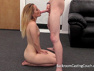 Nice blonde gets fucked by porn agent at casting with sex toy into her sensitive asshole