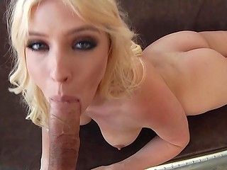 Sexy blonde pushes big dildo in pussy to warm herself for upcoming amazing cock