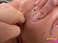 Teen with beautiful eyes adores sucking dick and squeezing it with her strong hand 3