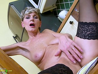 Hot granny in stockings uses dildo to make her old cunt wet again like many years ago