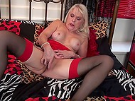 Sexy granny lies in bed and fingers her pussy to make it juicy and reach amazing orgasm