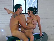Breathtaking brunette with massive coconuts preferred sex to workout in gym 10