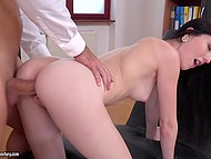 Dark-haired secretary fell on her knees and sucked boss' penis waiting for nice sex in office 6