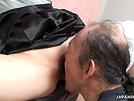 Old pervert goes mad about tickling young Japanese babe's clitoris in XXX video 8