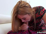 Guy promised stepsister to keep his mouth shut in exchange for serving his cock in POV clip 5