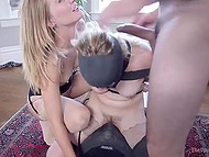 Debauched lady invited fragile stepdaughter for threesome sex with her insatiable fucker 6