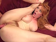 Excited males immobilized big-boobied lady and penetrated her asshole in turn 4