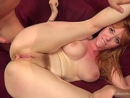 Excited males immobilized big-boobied lady and penetrated her asshole in turn 6