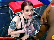 Nasty whore from Germany adores receiving golden rain when her pussy is being fucked 9