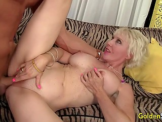 Mature blonde doesn't have boyfriend or husband so bald man can easily fuck her pussy