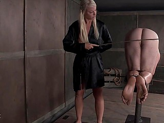 Big guy is under control of young mistress who explores new way of sexual domination