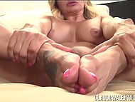 Mature woman is demonstrating her seductive body to cameraman for new sex tape 11
