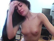 Searing brunette is giving professional blowjob until guy covers her face with fresh jizz 6