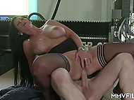 Mature guy doesn't miss a chance to feel juicy babe with big boobs on his hard cock 10