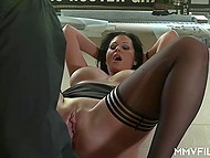 Mature guy doesn't miss a chance to feel juicy babe with big boobs on his hard cock 5