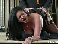 Mature guy doesn't miss a chance to feel juicy babe with big boobs on his hard cock 8