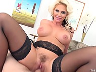 Lustful blonde loves to be on top to feel mighty cock inside trimmed pussy all day long 9