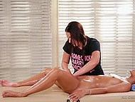 During the massage, curious babe stimulates clit of hot girlfriend to give cunnilingus 3