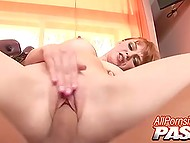 Macho energetically thrusts excited penis into unshaven vagina of pale-skinned slut 9