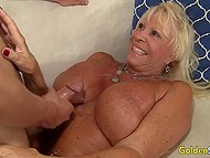 Mature female with massive buttocks made love to youngster then felt hot cum on her meaty tits 11