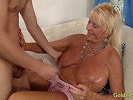 Mature female with massive buttocks made love to youngster then felt hot cum on her meaty tits 5