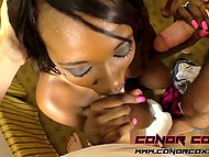 Black diva knows how to work with own mouth and pussy to satisfy two guys 5