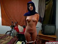 Slender Arab girl in hijab don't know English but understands what perverted guy wants from her