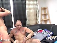 Teenage French honey thoroughly squirted during wild anal sex on black couch 6