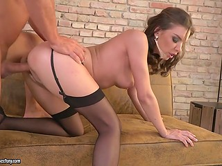 Slutty lassie in black stockings got roughly assfucked and fed with thick sperm