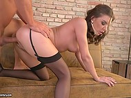 Slutty lassie in black stockings got roughly assfucked and fed with thick sperm 8