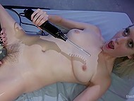 Cheerful beauty with fashioned haircut tried her best to make nice blonde squirt 11