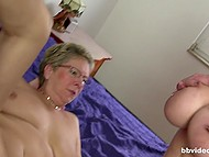 Concupiscent old woman together with big-breasted blonde help man to deal with lust 7