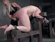 Redhead gets amazing orgasm when lustful lady and strict dude are slapping her juicy ass 11