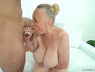 Lustful granny feels amazing when young guy explores her wet peach with strong horn 11