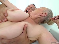 Lustful granny feels amazing when young guy explores her wet peach with strong horn 9