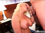 Big-bootied Alura Jenson with golden hair and in black stockings was fucked in doggystyle position 4