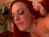 Red-haired woman with deep throat and tanned body has passion for anal fuck 6
