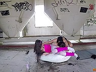 Severe dude tore pantyhose of tied up teen and fucked her hard in abandoned factory 6