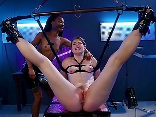 Black babe tied up cutie with snow-white body and excited her in torture room