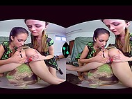 Brave teens with hot bodies come to serve in army and they pass test by fingering wet pussy 9