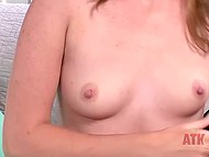 Pleasant colleen tells about herself while undressing and demonstrating pink pussy 4