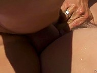 Honey had time to squirt several times before lovelace released sperm on her unshaven pussy by poolside 6