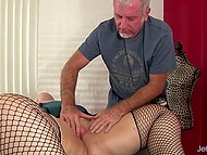 Experienced masseur knows how to tame a fat beauty and moisten her big hole