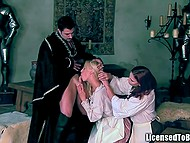 Mighty lord in moments of anger comes to his restroom to punish with his royal scepter all sexy maids 7