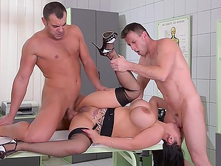 Good-looking Asian nurse heals poor guy with handjob and invites his friend for threesome sex