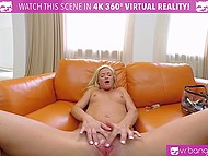 Light-haired girl in high heels carefully stimulates pussy with sex toy in VR clip 8