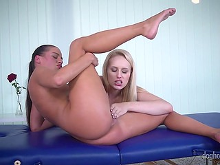 Chesty blonde with pierced nipples and fragile visitor energetically masturbate their pussies
