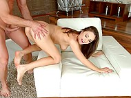 Provocative babe with deep throat gladly took part in anal sex with creampie 7